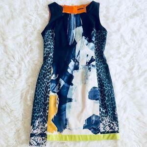 ELIE TAHARI Blue Off-White Print Dress Size 12